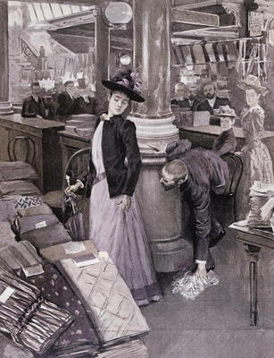 CHT198706 A Thief in a Department Store in Paris, illustration from 'Paradis des Dames', c.1895 (litho); by French School, (19th century); lithograph; Bibliotheque des Arts Decoratifs, Paris, France; Archives Charmet; French, out of copyright