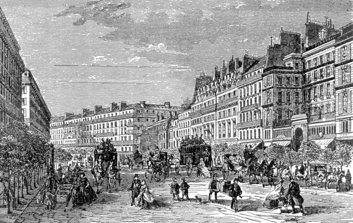 An etching of Paris circa 1860 - Carrefour Richelieu-Drouot, Grands-Boulevards - Courtesy of amourparis.fr Author Benjamin Pépiot