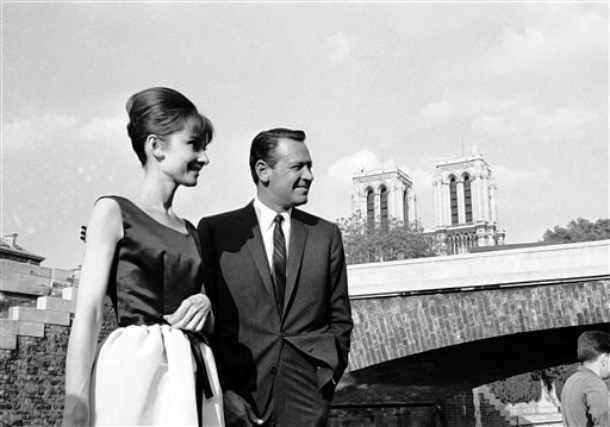 Audrey Hepburn along with William Holden and Jack Lemmon at a press junket for Paris When it Sizzles