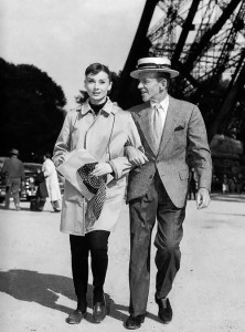 Audrey Hepburn and Fred Astaire in Paris for the production of Funny Face, 1956