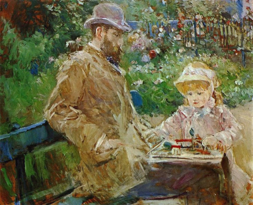 Berthe-Morisot-Eugene-Manet-and-His-Daughter-at-Bougival-1881