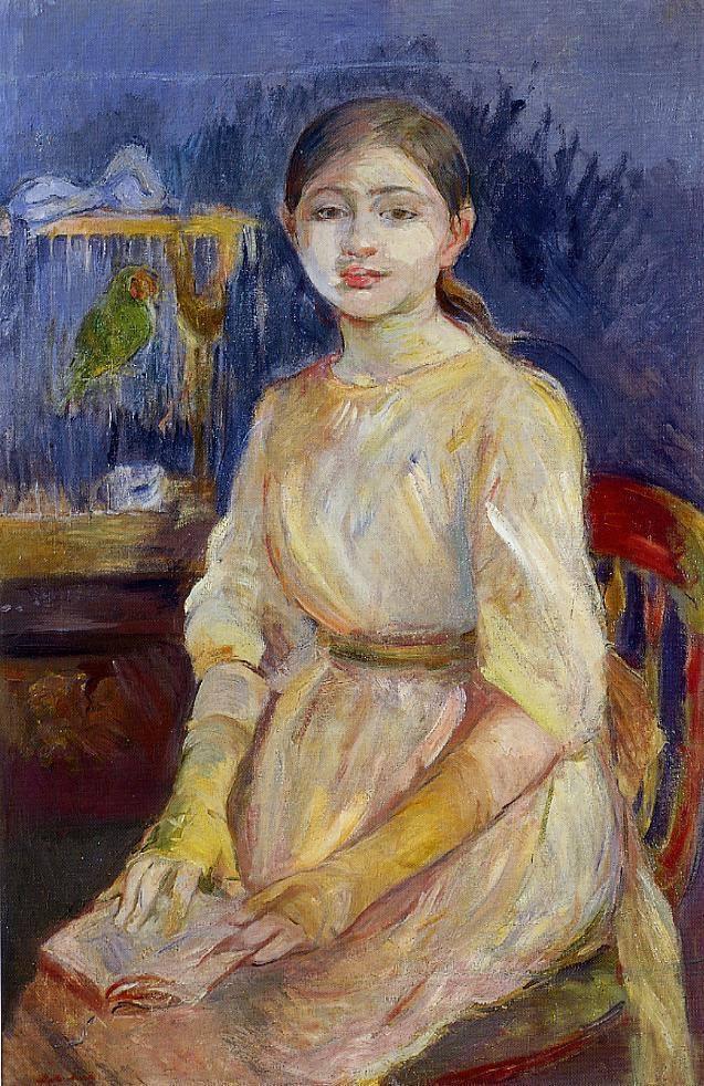 Berthe Morisot Julie Manet with a budgie - 1890