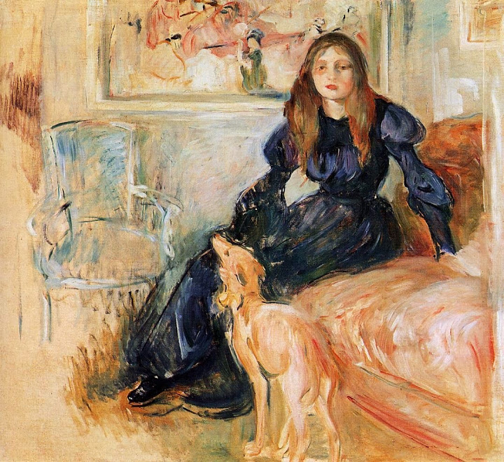 Berthe_Morisot_1893-_Girl_with_Greyhound_-_1893