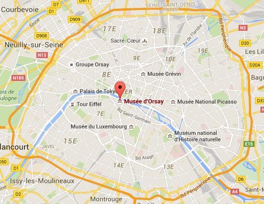 Carte Paris avec Musée d'Orsay