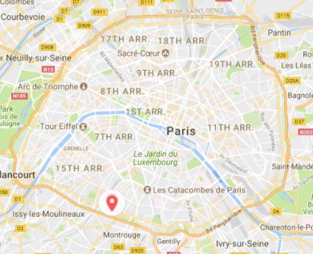Carte Paris avec repère pour le marché de Vanves
