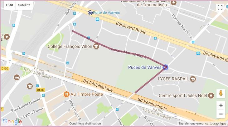 Carte des rues du Marché de Vanves