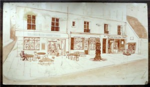 A cafe as imagined by George Whitman in the 1960s and illustrated by James King