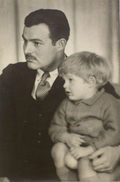 Ernest Hemingway with his son Bumpy (Jack), Paris 1925 -by Man Ray