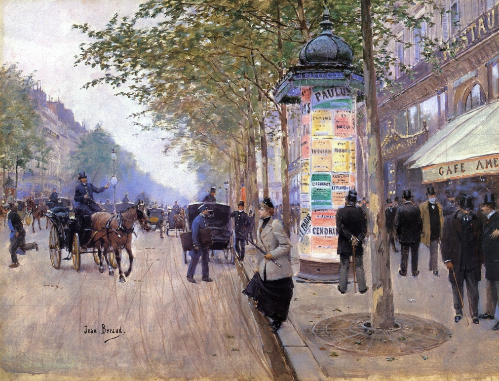 hailing-a-cab-outside-the-cafe-americain-by-jean-georges-beraud-circa-1890