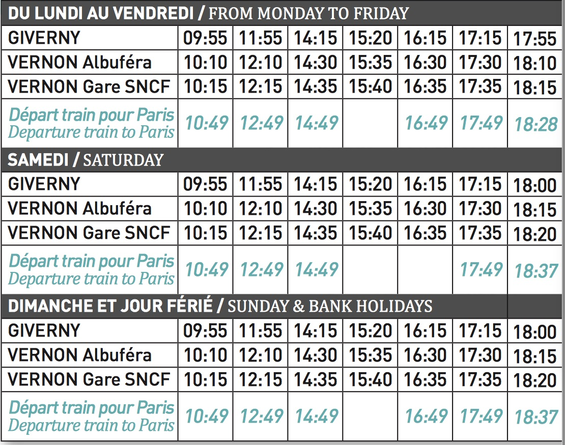 Horaire shuttle Vernon - Giverny