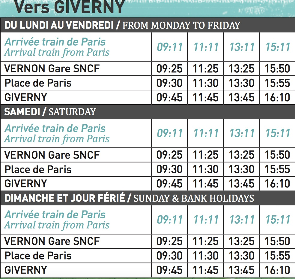 Horaires shuttle Vernon Giverny b