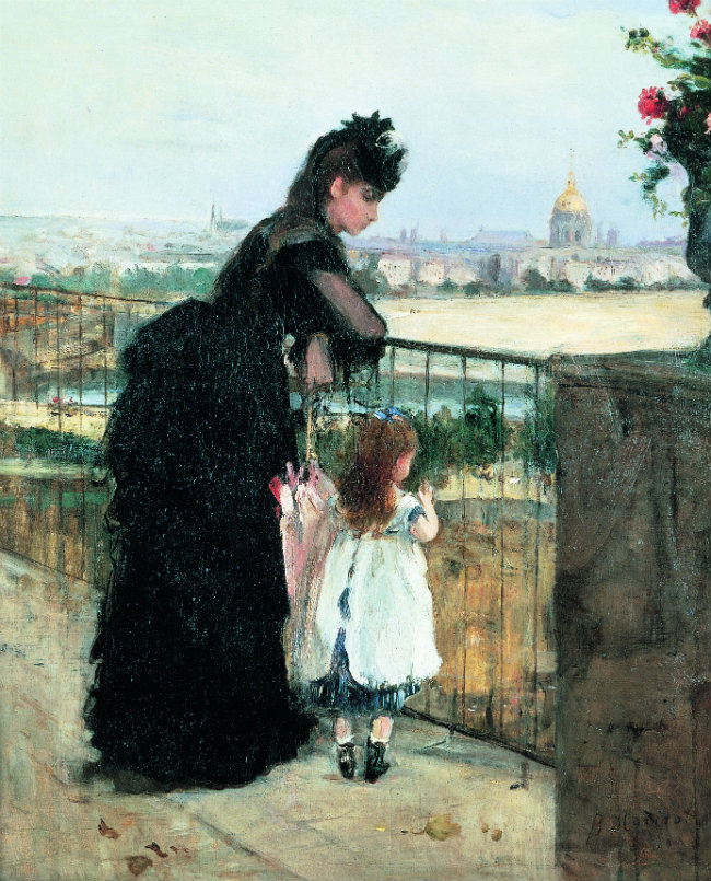 On the Balcony, 1872, New York - Dame et enfant sur la terrasse, Berthe Morisot, 1872