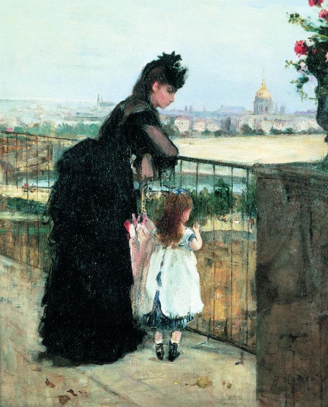 On the Balcony, 1872, New York - Dame et enfant sur la terrasse, Berthe Morisot, 1872
