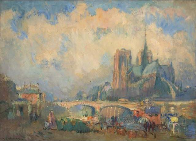 Le Pont de l'Archevêché et Notre-Dame, vus du quai de la Tournelle 1894 - Albert Lebourg