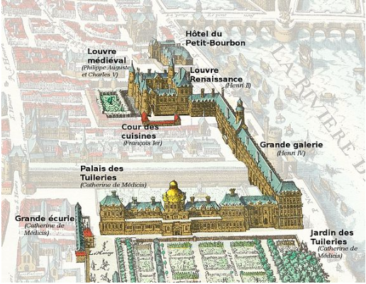 The Tuileries Palace connected by the Grande Galerie to the Renaissance Louvre on Merian's 1615 map of Paris