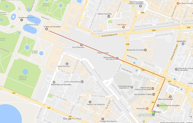 Trajet à Pied du RER C au Château de Versailles