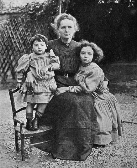 L0001758 Portrait of Marie Curie and her daughters, 1908 Credit: Wellcome Library, London. Wellcome Images images@wellcome.ac.uk http://wellcomeimages.org Portrait of Marie Curie, and her two daughters, Eve and Irene, in 1908 Madame Curie Curie, Eve Published: 1939 Copyrighted work available under Creative Commons Attribution only licence CC BY 4.0 http://creativecommons.org/licenses/by/4.0/