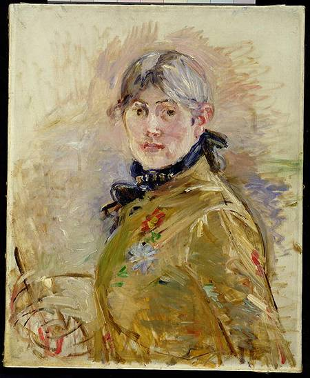 MMT156737 Self Portrait, 1885 (oil on canvas) by Morisot, Berthe (1841-95) oil on canvas 61x50 Musee Marmottan, Paris, France French, out of copyright
